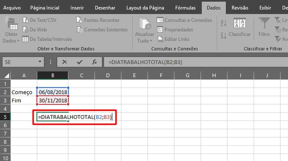 """Escreva """"=DIATRABALHOTOTAL(A;B)"""", com """"A"""" e """"B"""" indicando, respectivamente, o primeiro e o último dia de trabalho (Foto: Reprodução/Daniel Ribeiro)"""