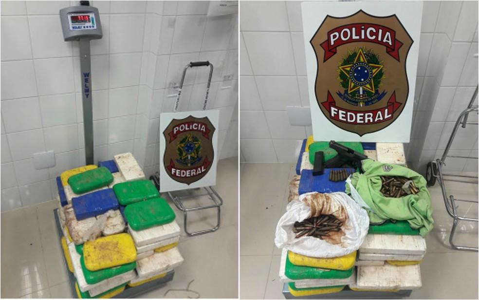 Droga foi apreendida nesta quinta-feira (10) na BR-364 (Foto: Divulgação/PF)
