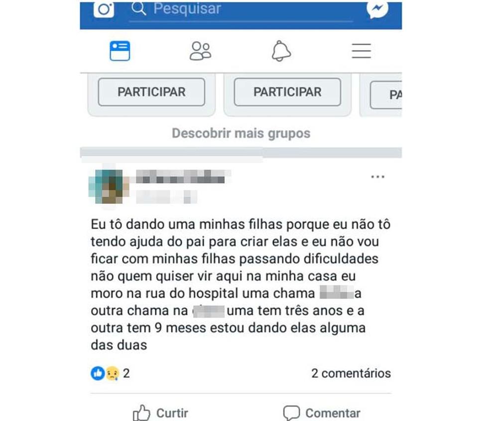 Mulher anunciou doação das filhas em postagem de rede social na Bahia (Foto: Calmon Notícias/Reprodução/Facebook)