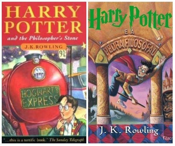 Capa de 'Harry Potter e a Pedra Filosofal': a primeira versão britânica original e a versão publicada no Brasil (Foto: Divulgação)