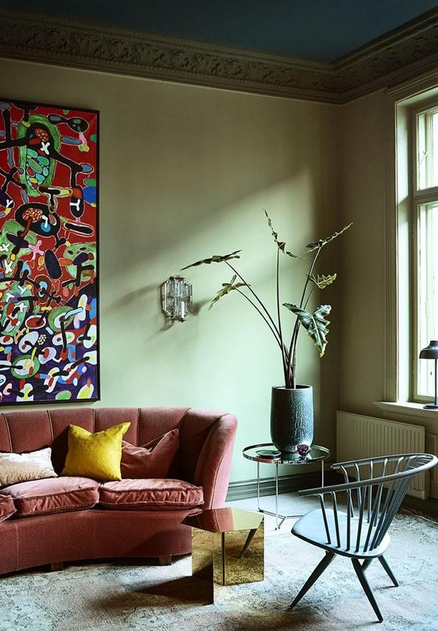 Décor do dia: sala de estar em tons de verde (Foto: Divulgação/Reprodução)