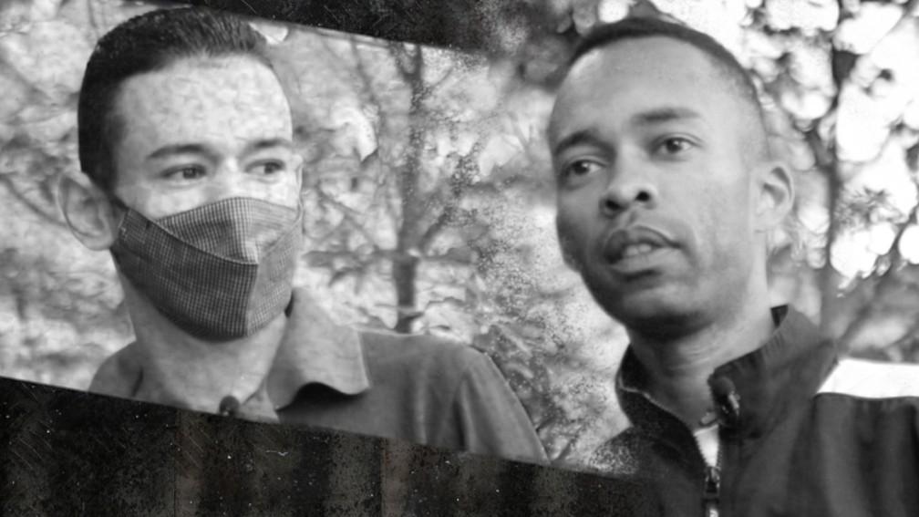 Felipe Patrício (à esquerda), de 21 anos, e Igo Santos, de 37, ficaram presos por 13 dias em janeiro de 2021; após provar inocência, os amigos foram soltos — Foto: Henrique Pinheiro/G1 e Montagem: Nikolas Espíndola/G1