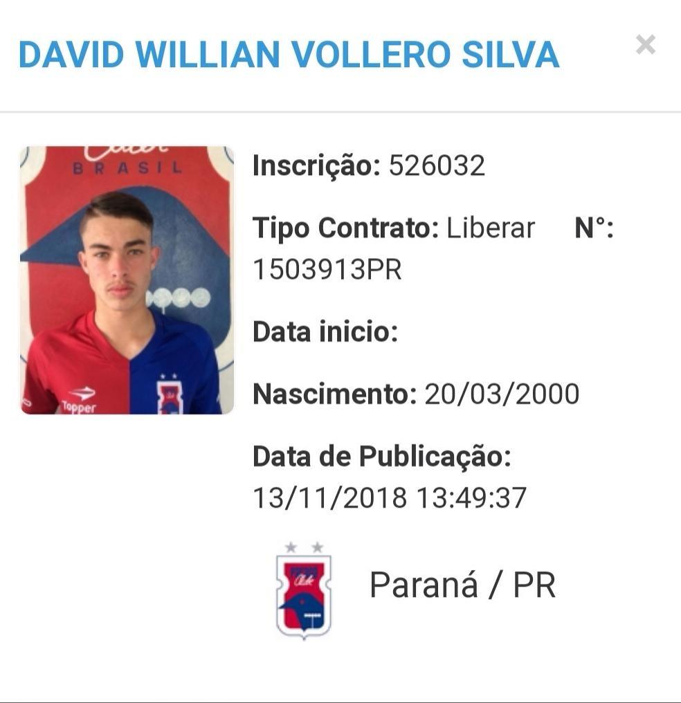 David William Vollero Silva é meio-campo — Foto: Reprodução/CBF