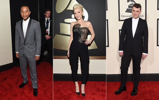 John Legend (à esq.); Gwen Stefani (ao centro); Sam Smith (à dir.)