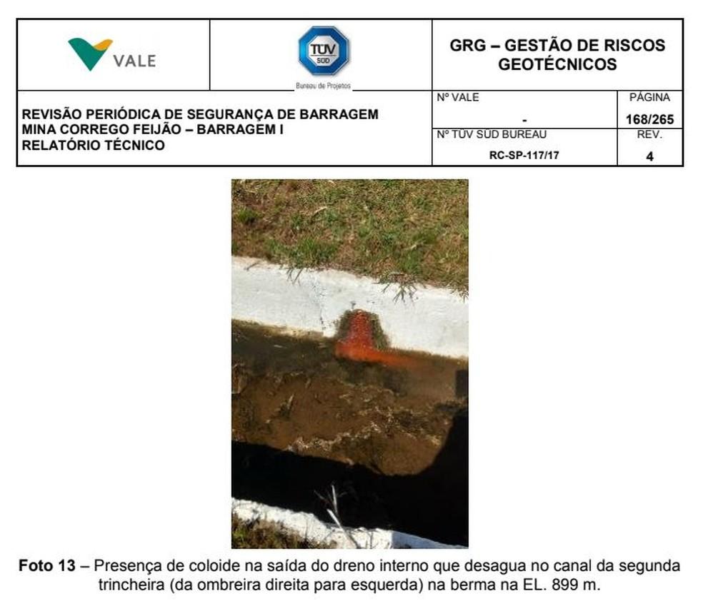 Imagem mostra presença de coloide em dreno — Foto: Reprodução/Laudo Tüv Süd