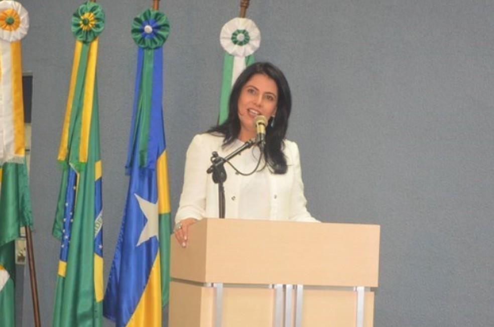 Glaucione Rodrigues foi afastada do cargo de prefeita de Cacoal. — Foto: Prefeitura de Cacoal/Reprodução