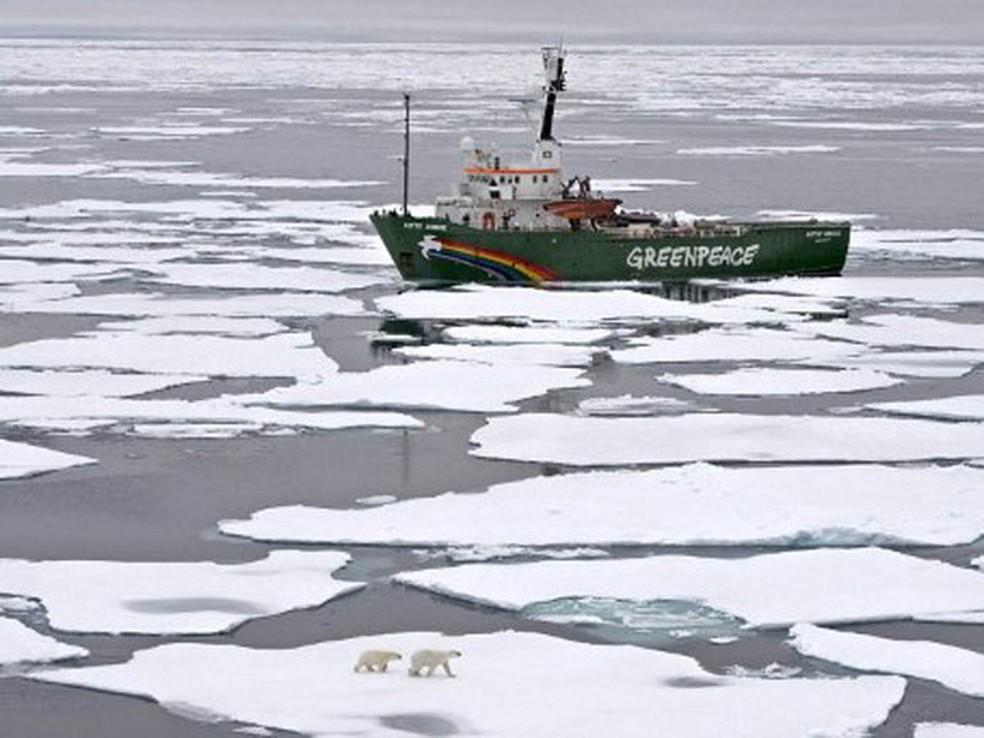 Estudos recentes afirmam que espécies que vivem no Ártico, como o urso polar, focas e crustáceos, precisam se adaptar ao constante degelo ou podem desaparecer para sempre devido ao aumento da temperatura do planeta. — Foto: Danile Beltra/Greenpeace/AFP