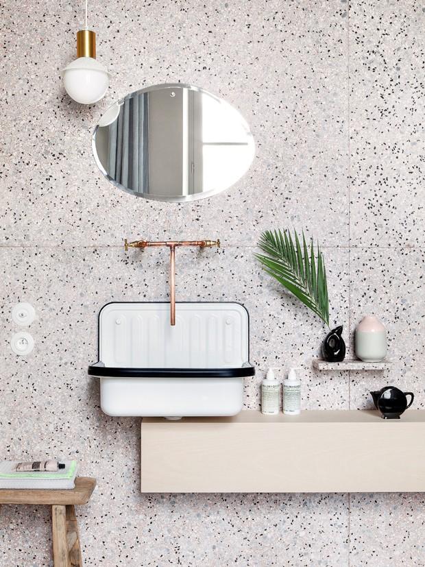 Décor do dia: lavabo decorado com marmorite (Foto: Divulgação)