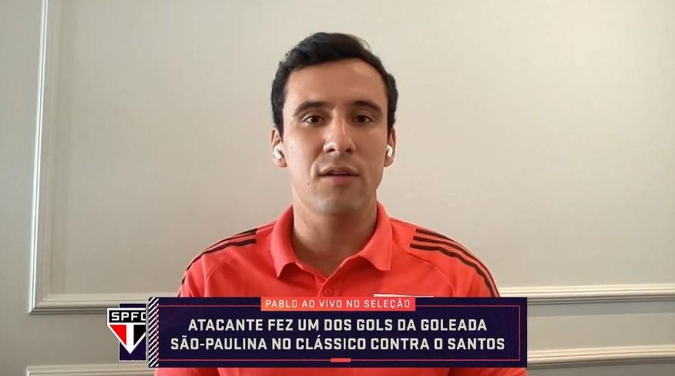 Pablo, atacante do São Paulo, em entrevista ao Seleção SporTV — Foto: SporTV