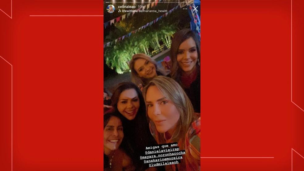 Deputada Celina Leão; primeira-dama, Mayara Noronha; e amigas em festa de aniversário do governador Ibaneis Rocha — Foto: Instagram/Reprodução