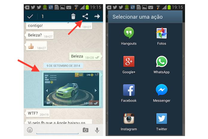 Compartilhando uma imagem do chat do WhatsApp com as rede sociais no Android (Foto: Reprodução/Marvin Costa)