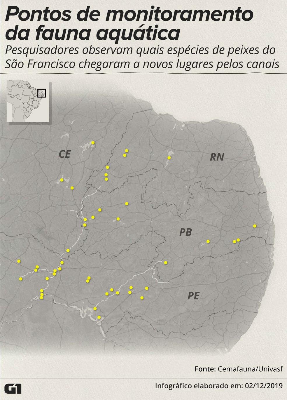 Pontos de monitoramento de peixes no Rio São Francisco — Foto: Rodrigo Sanches/G1