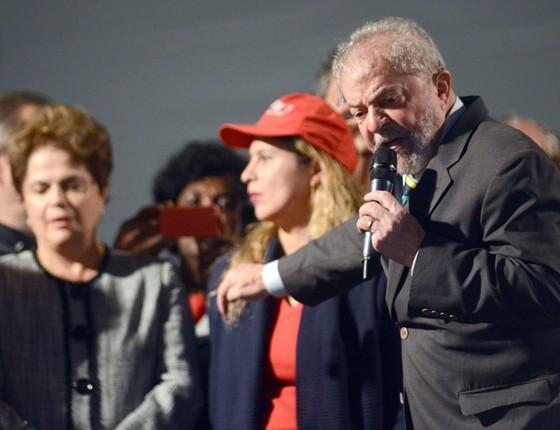 Ato público pró-Lula realizado com a presença do ex-presidente Luiz Inácio Lula da Silva, ex-presidente Dilma Rousseff e integrantes do PT  (Foto: Antonio Cicero/Photo Press/Folhapress)