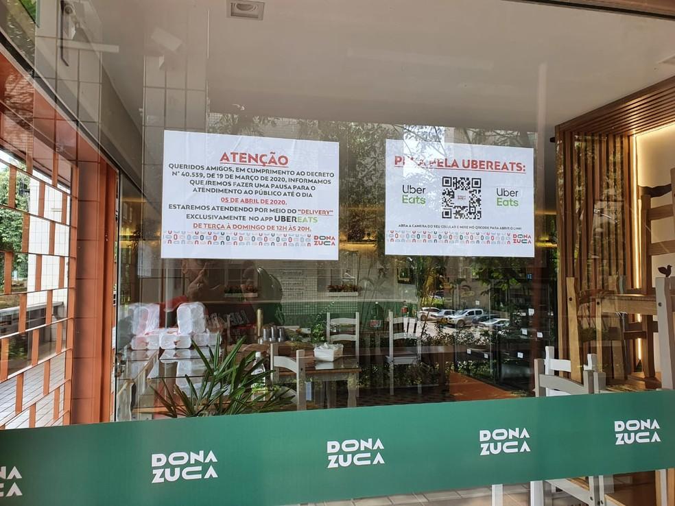 Restaurante fechado, após decreto do Ibaneis em Brasília — Foto: Dona Zuca/Divulgação