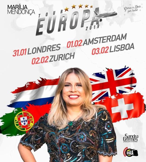 Marília Mendonça fará turnê na Europa (Foto: Reprodução/Instagram)