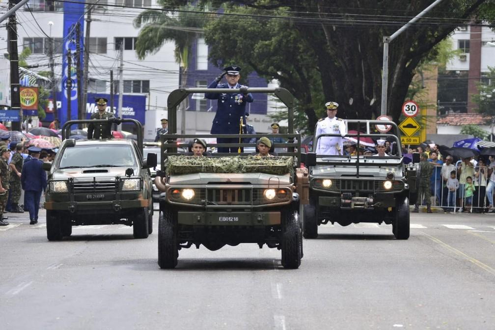 Forças Armadas no desfile de 7 de Setembro em Natal — Foto: Pedro Vitorino