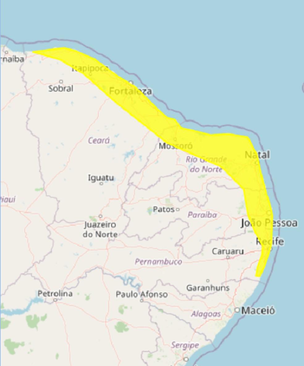 Alerta de chuva abrange 89 cidades do RN além de partes do Ceará, Paraíba e Pernambuco — Foto: Inmet