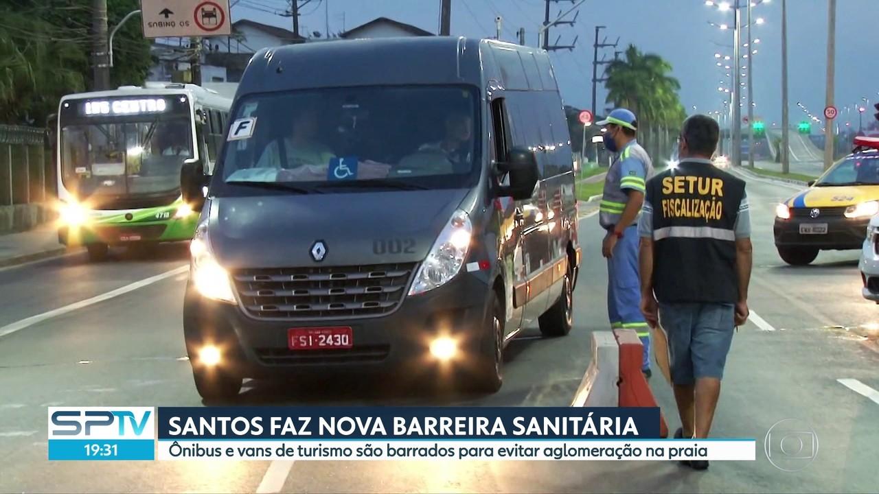 Santos volta a adotar barreiras sanitárias para evitar acesso de vans e ônibus de turismo