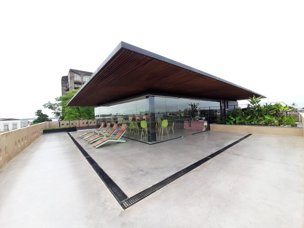 Terraço do Casarão da Inovação Cassina, com área ao ar livre — Foto: Eliana Nascimento/G1