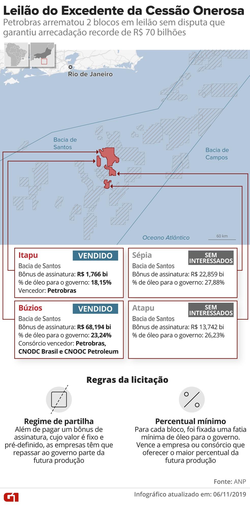Resultado do megaleilão da cessão onerosa — Foto: Infografia G1