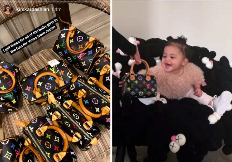 As bolsas compradas pela socialite Kim Kardashian e a filha de Kylie Jenner recebendo uma delas de presente (Foto: Instagram)