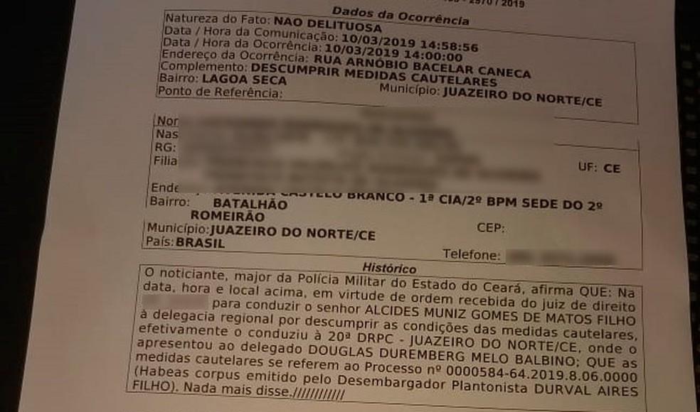 Boletim de ocorrência mostra que médico Alcides Muniz Gomes de Matos Filho foi detido por descumprir medidas cautelares. — Foto: Reprodução