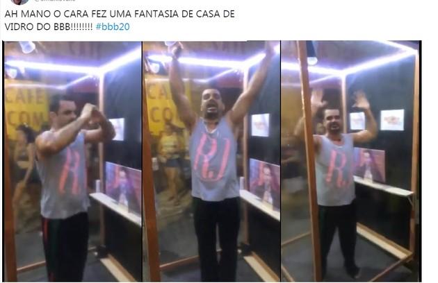Folião criou uma fantasia de Casa de Vidro para curtir bloco no Rio de Janeiro (Foto: Reprodução/Twitter)