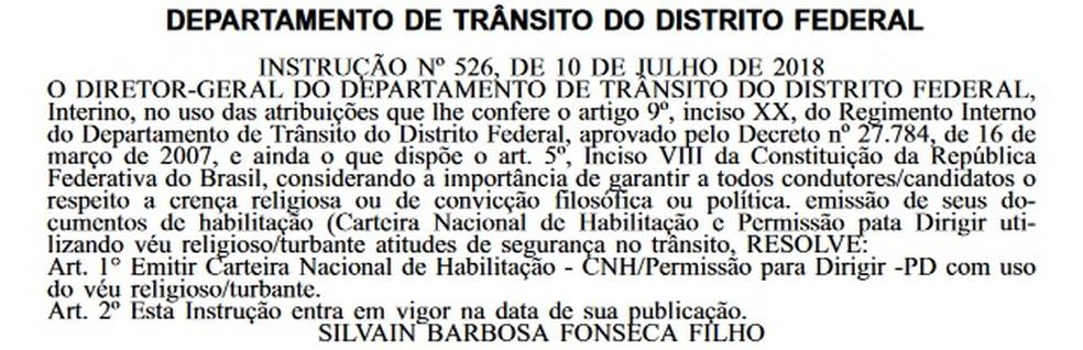 Instrução do Detran-DF que autoriza o uso de véu e turbante em foto de CNH  (Foto: Reprodução/Diário Oficial do DF )