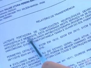 Relatório de transferência aponta complicações no quadro de saúde da menina (Foto: Reprodução/TV Santa Cruz)