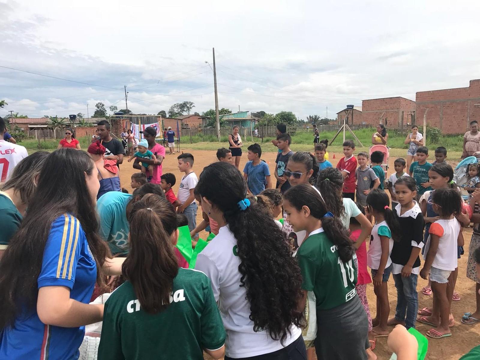 Torcida do Palmeiras faz ação social na zonas leste e sul de Porto Velho  (Foto:  José Serbino/ arquivo pessoal)