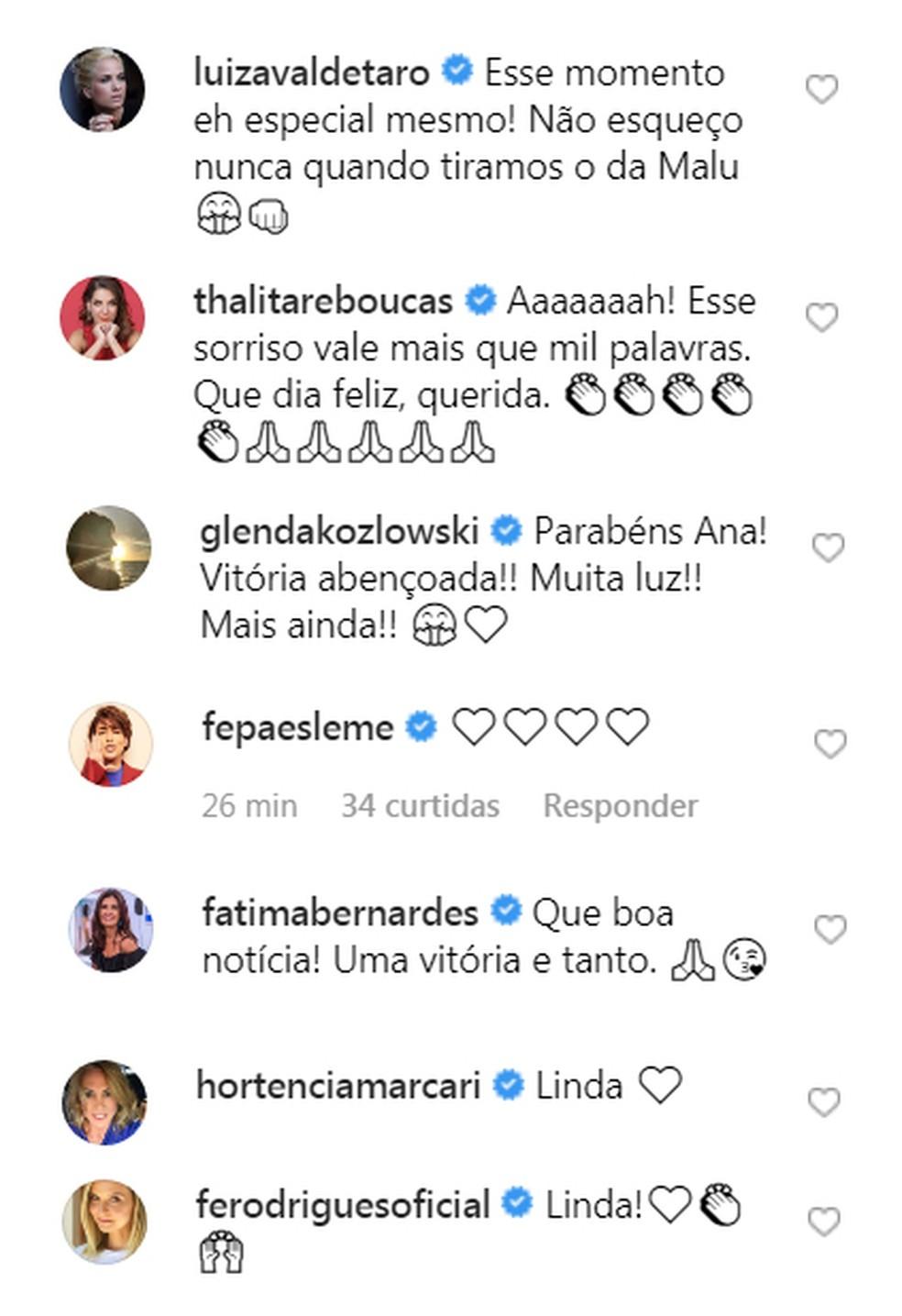 Amigos vibram com a notícia de Ana Furtado — Foto: Reprodução / Instagram