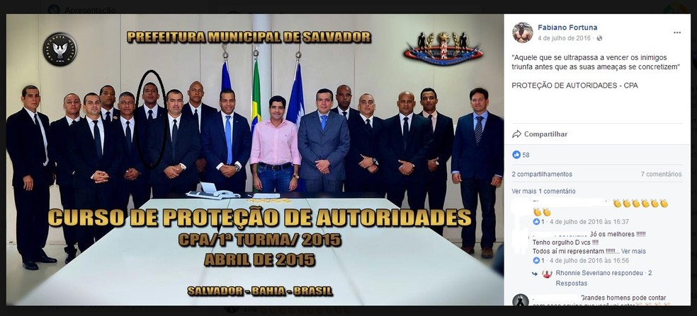 Ano passado, Fabiano participou de um curso de proteção de autoridades e posou ao lado do prefeito de Salvador, ACM Neto (Foto: Reprodução/Facebook)