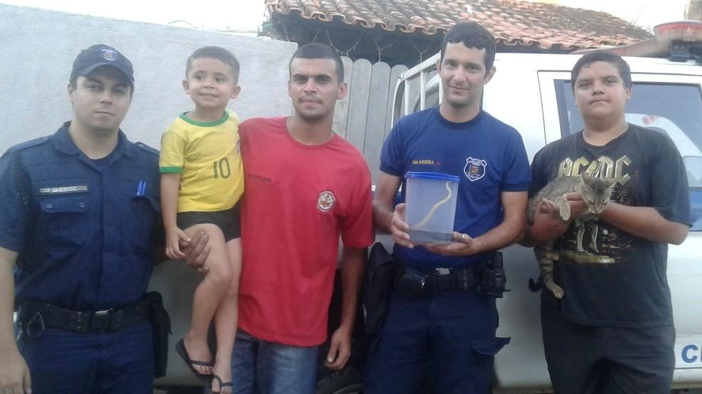 Guarda Municipal foi acionada para resgatar cobra  — Foto: Alyadine Rodegheri/Arquivo Pessoal