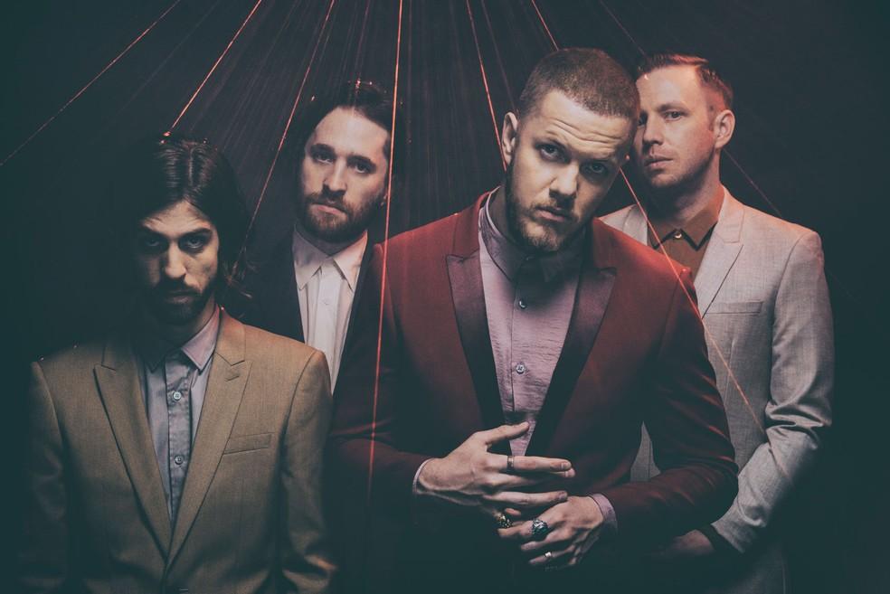 -  A banda Imagine Dragons, com Dan Reynolds à frente  Foto: Eliot Lee Hazel/Divulgação