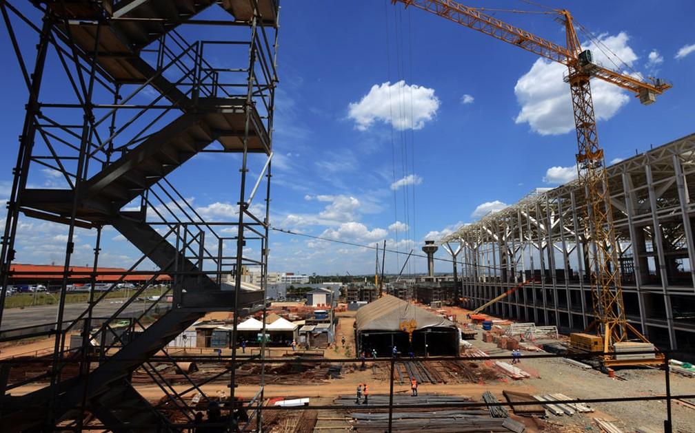 Obras de expansão no Aeroporto Internacional de Viracopos, em Campinas — Foto: Carlos Bassan / Prefeitura de Campinas