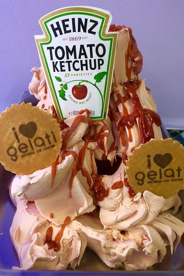 Sorvete de ketchup: boa ou má ideia? (Foto: Instagram/Reprodução)