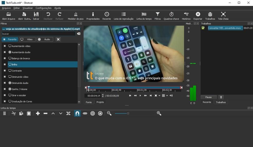 Shotcut é um editor de vídeo de código aberto para Windows, mac e Linux — Foto: Reprodução/Raquel Freire