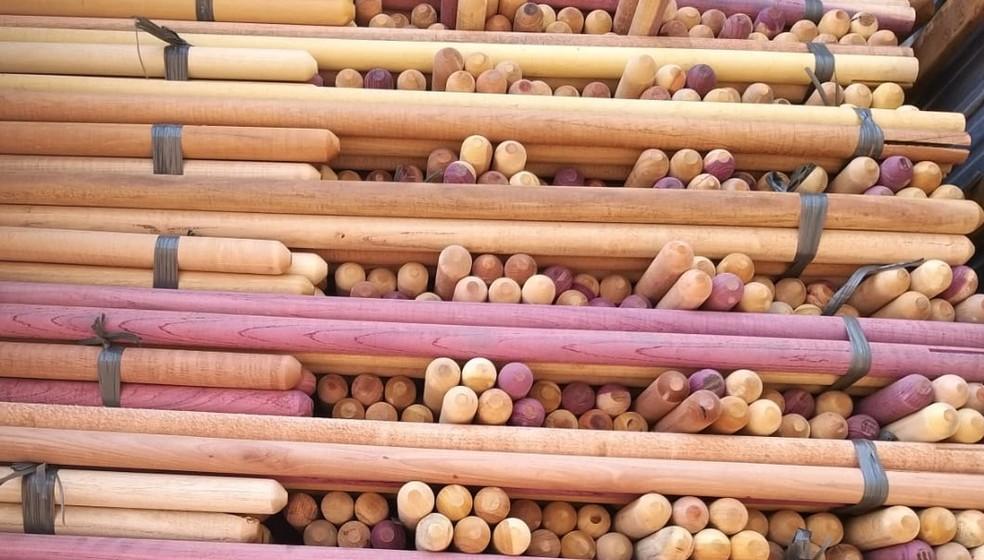 32 toneladas de madeira ilegal foram apreendidas em Primavera do Leste — Foto: Indea-MT