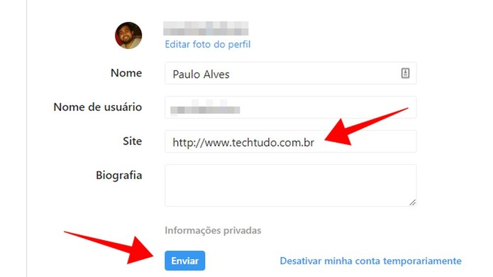Inclua um link no perfil do Instagram (Foto: Reprodução/Paulo Alves)