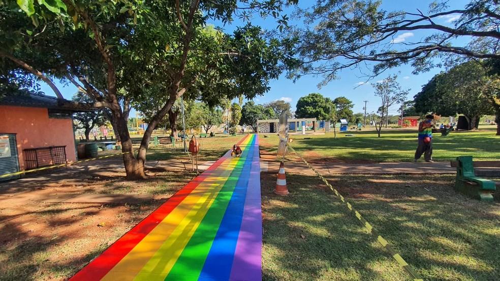 Parque da Cidade ganhou intervenções artísticas no mês do Orgulho LGBT — Foto: Igor Albuquerque / Brasília Orgulho