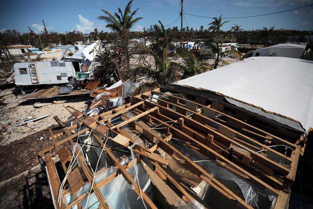 Parque de trailers na ilha de Plantation Key, na região de Florida Keys (Foto: Carlos Barria/Reuters)