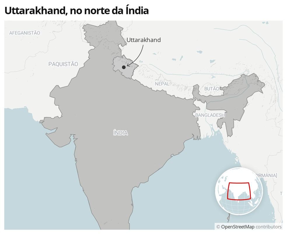 Localização do estado de Uttarakhand — Foto:  G1
