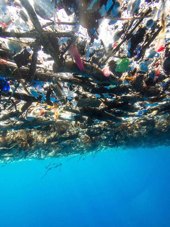 Camada de lixo flutua entre as costas da Guatemala e de Honduras (Foto: Cortesia de Caroline Power)