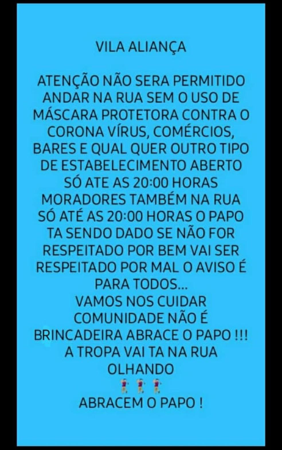 Mensagem de texto enviada a moradores da Vila Aliança, na Zona Oeste do Rio — Foto: Reprodução