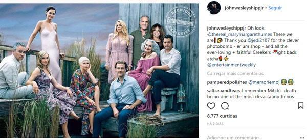Postagem de John Wesley Shipp com sua participação no reencontro de Dawson's Creek, ao lado de Mary-Margaret Humes (Foto: Reprodução/Instagram)