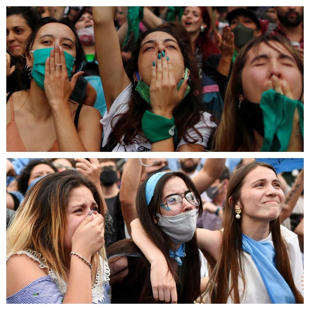 No alto, argentinas comemoram a aprovação dos deputados do projeto de lei que descriminaliza o aborto; abaixo, um grupo lamenta o resultado da votação, em 11 de dezembro de 2020 — Foto: Martin Villar e Agustin Marcarian/Reuters