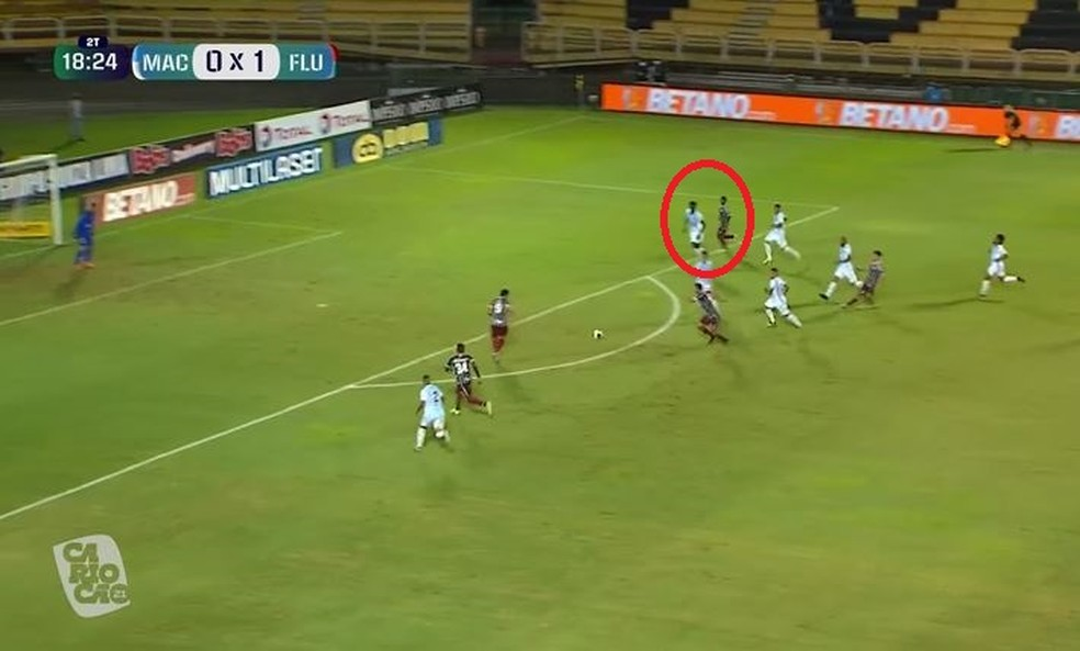 Garoto puxou a marcação que deu condição para Fred no segundo gol — Foto: Reprodução / PPV do Carioca