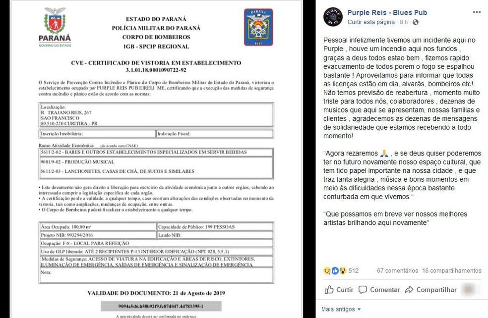 No Facebook, a direção do Purple Reis falou sobre o incêndio — Foto: Reprodução/Facebook