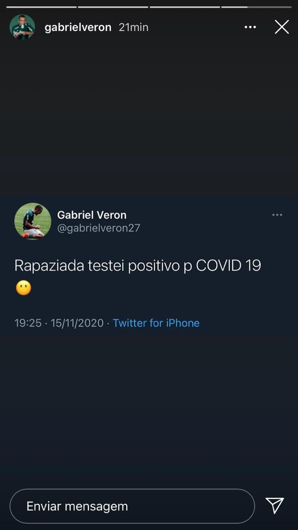 Gabriel Veron, do Palmeiras, diz nas redes que contraiu Covid-19 — Foto: Reprodução
