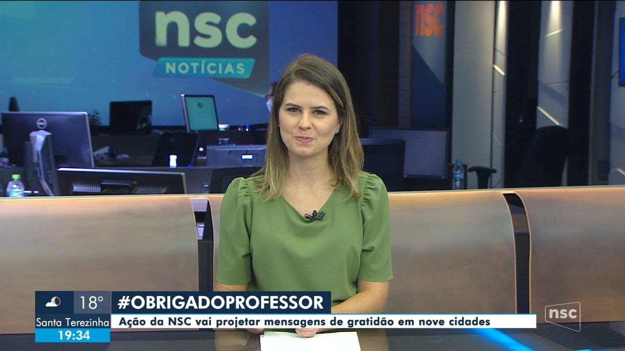Ação da NSC vai projetar mensagens de gratidão em 9 cidades
